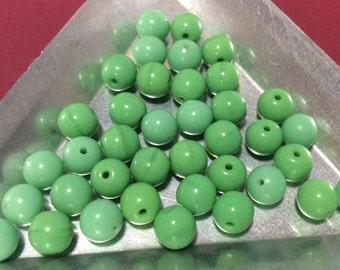 Vintage Jadeite glass beads 6mm Round 1940s Czech QTY - 22