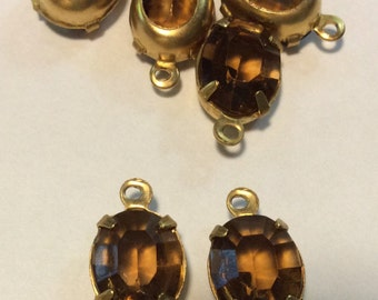 Vintage Smoked Topaz 10x8mm jewels prong set open back Brass 14x10m Pendants QTY - 7 ONLY LOT