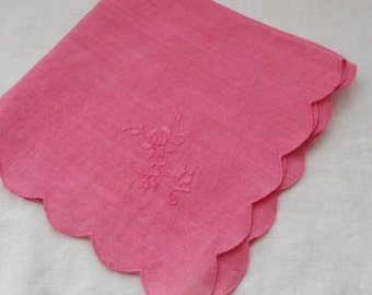 Napkins, Vintage, Two (2),  Fuchsia, Hand-Dyed, Table Linens