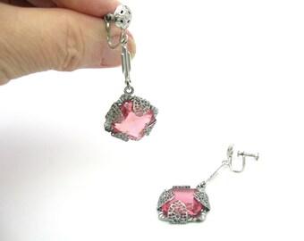 Art Deco Earrings. Rose Pink Czech Glass Jewels.  Antique Rhodium Silver filigree. Dangles, Screw Backs. Vintage 1930s Art Deco Jewelry