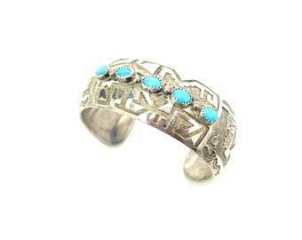 Native American Bracelet. Turquoise Cuff. Sterling Silver Overlay. Vintage Signed Hopi Jewelry. Pueblo Pottery Southwestern Scene, 1.23 oz