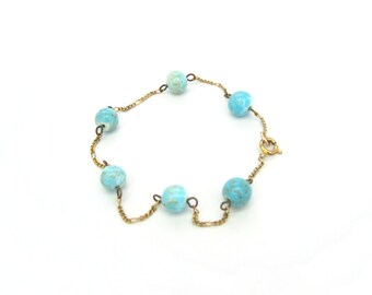 "Art Glass and Chain Bracelet. Speckled Robins Egg Blue Beads. Gold Tone. Delicate Vintage 1960s Retro Jewelry. 8.25"" long"