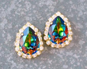 Rainbow Earrings Swarovski Crystal Stud Small Clear Crystal Diamond Rhinestone Vitrail Pear Stud Duchess Pear Halo Earrings Mashugana