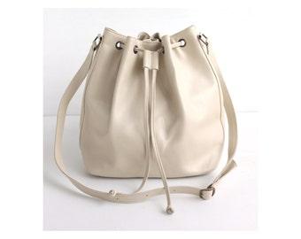 QUINN Cream Leather Bucket Bag. Leather Drawstring Bag. Leather Cross body bag. Womens handbag bag. Leather Shoulder Bag. Off white bag.