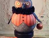 Sale pending-Buy only if you are Fran -Folk Art One of a kind Halloween WITCH OWL vintage style Primitive candy container HAFAIR Penny Grotz