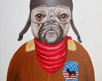 Original Bulldog Painting, handpainted, Frenchie painting, french bulldog, vintage aviator, bulldog art by painter Coco de Paris
