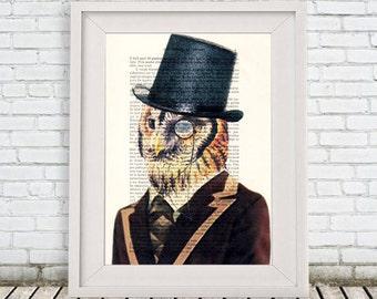 Owl Print, Gentleman Owl, Bird with a Hat, Steampunk Owl, Human Animal, Wall Art Prints, Burlesque Wall Art, Owl art