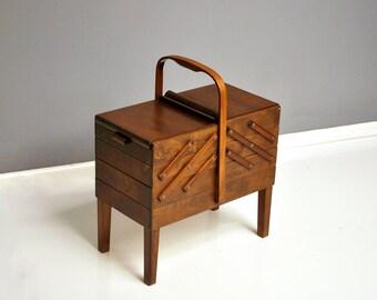 Vintage Norwegian Strommen Bruk Hamar Accordion Style Sewing Box