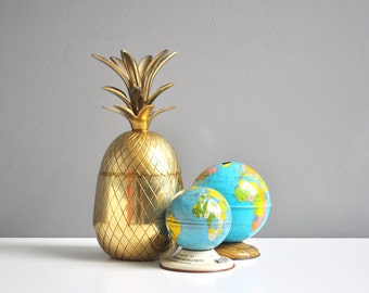 """Mid-Century 9 1/2"""" Brass Pineapple Ice Bucket or Candle Holder"""