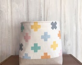 Storage Basket Scandinavian Fabric Pastel Cross