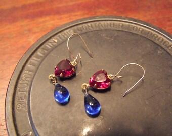"""Red Heart/Blue Teardrop Earrings - """"Tears of the Heart"""" garnet glass/antique Victorian blue glass"""
