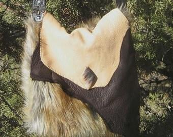 Leather & Faux fur Purse
