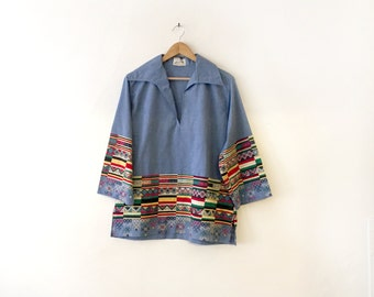 Vintage 1960s Embroidered Mexican Tunic