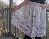 1950s 1940s Apron Skirt Embroidered Floral Sheer Print Vintage Eco geek zig zag quilt Pinup 1/2 bakery purple Handmade Handsewn