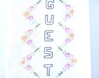 Guest towel, Embroidered linen towel, flowers, hand towel