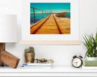 Sunny Summer Boat Jetty popular wall art print, nautical beach trendy seaside resort home decoration, unique new home housewarming gift