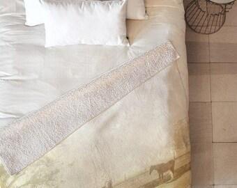 Good Morning horse print sherpa baby stroller blanket, gender neutral ranch home nursery decor, housewarming gift apartment home decor