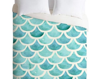 La Mer watercolor teal ocean themed queen king duvet cover, turquoise waves housewarming gift apartment bedroom accessory, trendy dorm decor