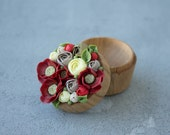 TO ORDER ONLY Red Yellow Ranunculus Poppy Flower Ring Box Wooden Round Engagement Ring Holder Ring Case Wedding Bridal Christmas Gift Decor