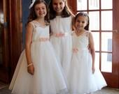 Flower Girl Sash Chiffon Blossoms Satin Sash Wedding Sash Bridal Sash