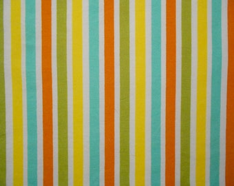 Yellow, Turquoise, Copper and Olive Green stripes Fat Quarter