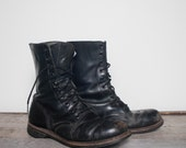 10 R | Men's Vintage 60's Combat Boots Black Leather Military Army Boots