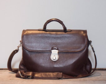 Brown Leather Messenger Soft Briefcase by Bally