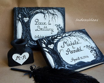 Black guest book with wedding tree, Black Wedding Guest Book, Black and white, Tree of life, Halloween Wedding, personalized name & date