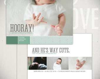 Birth Announcement Template: Fresh Start Card A - 5x7 Card Template Baby Boy or Baby Girl