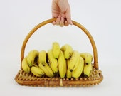 Vintage Basket French Flat Fruits Basket Made of Wood and Rattan