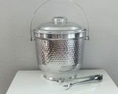 Mid Century Hammered Aluminum Ice Bucket and Stainless Steel Ice Tongs - Double Walled Aluminum Ice Bucket Made in Italy