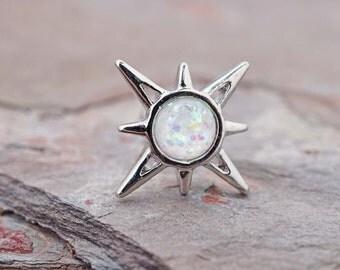 Opal Sunburst Cartilage Tragus Earring