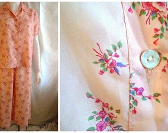 1940's Pajamas Vintage Rayon Print Floral Pajamas Loungewear Pink Multi 40 bust 31 waist