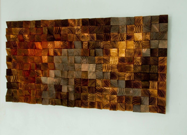 Wood Wall Art Wood Sculpture Mosaic Geometric By