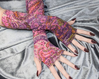 Purple Paisley Arm Warmers Pink Fingerless gloves multicolored armwarmer bohemian burlesque gothic goth belly dance tribal mehndi ethnic emo