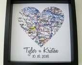 Wedding Gift Map Art Framed Print Personalized Wedding Gift Heart Map Art Any Location Available Unique Wedding Gift Wedding Gifts