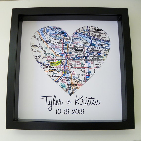 Wedding Gift Map Art Framed Print Personalized Wedding Gift Heart Map ...
