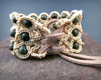 Gypsy Corset Cuff Bracelet with Green Beaded Bracelet cuff