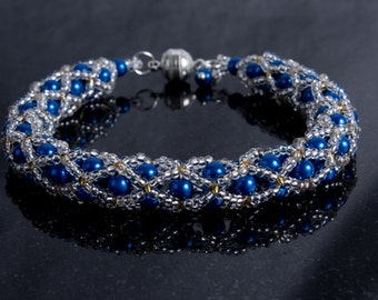 Sapphire Blue Glass Pearl and Silver Seed Bead Netted Bracelet with Magnetic Clasp, Birthstone Wrist Wrap