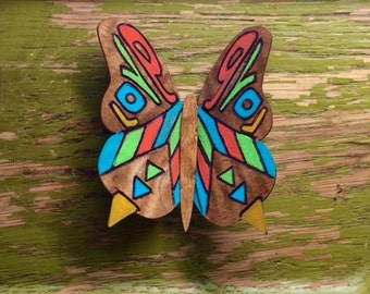 Psychedelic Love -  Hand Painted Laser Engraved Wooden Veneer Butterfly