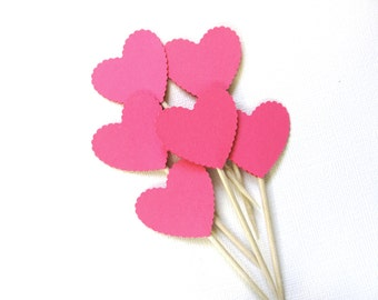 Scalloped Heart Cupcake Toppers, Valentine Party Decor, Weddings, Showers, Love, Fuchsia Pink, Double-Sided, Set of 24