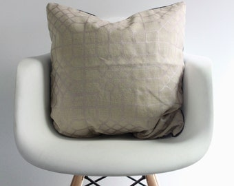 Penn Grid 22x22 pillow cover handprinted in metallic blush on natural organic hemp