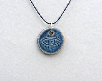 Ceramic Pendant, Evil Eye Pendant, Leather Jewelry, Boho Necklace