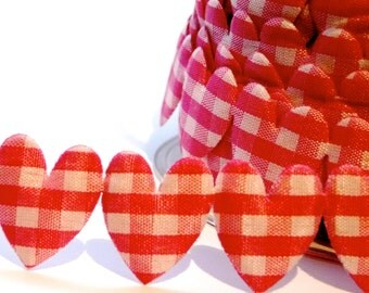 25mm Gingham Heart Trim