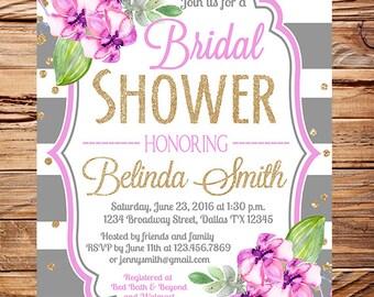 Orchid Bridal Shower Invitation, gray stripes, gold, glitter confetti, orchid wedding, purple flowers bridal shower invitation, 5346