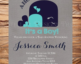 Whale Baby Shower Invitation, Baby Shower Whale, Boy,navy,gray, aqua, whale baby shower invitation, digital, printable, nautical baby, 1544