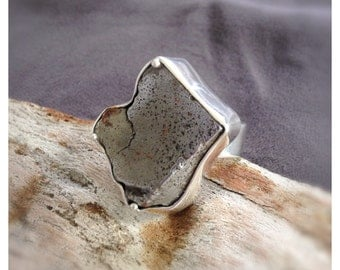 Diamond Shaped Adjustable Meteorite Silver Ring- Meteorite Sterling Silver Ring- Adjustable Ring- Chunky Silver Statement Ring- One Size