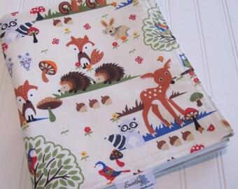 Baby Blanket/Woodland Scene in Cream/Organic Cotton Fleece Backing