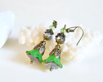 Dangle earrings lucite flower earrings green violet earrings valentine beadwork earrings drop eco cluster shabby style vintage boho bell