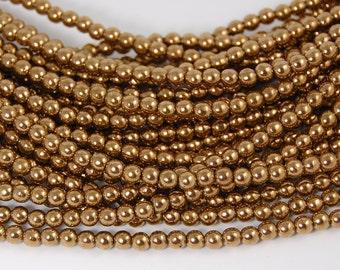 Bronze 4mm round czech beads   - 100